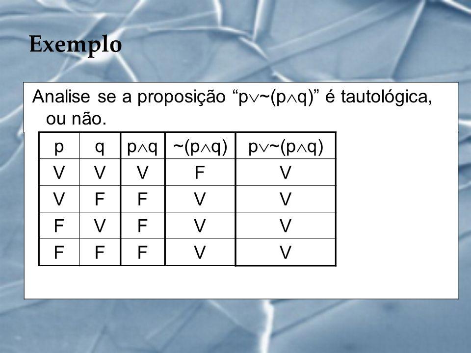 Exemplo Analise se a proposição p~(pq) é tautológica, ou não. p q