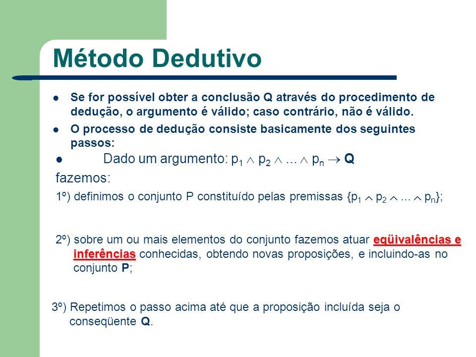 Método Dedutivo Dado um argumento: p1  p2  ...  pn  Q fazemos:
