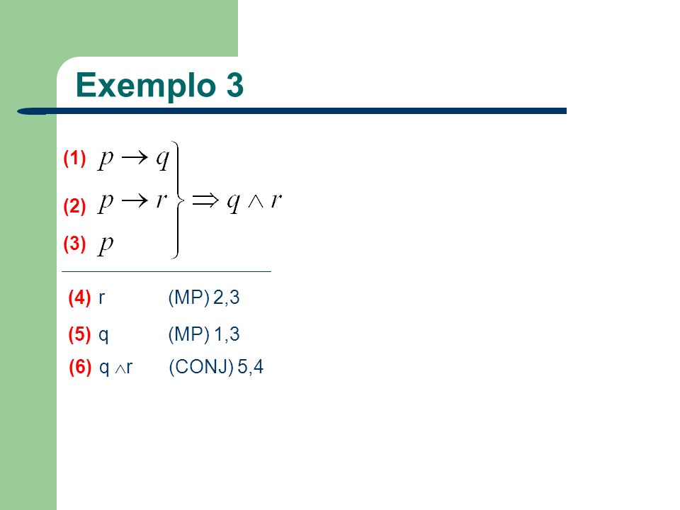 Exemplo 3 (1) (2) (3) (4) r (MP) 2,3 (5) q (MP) 1,3