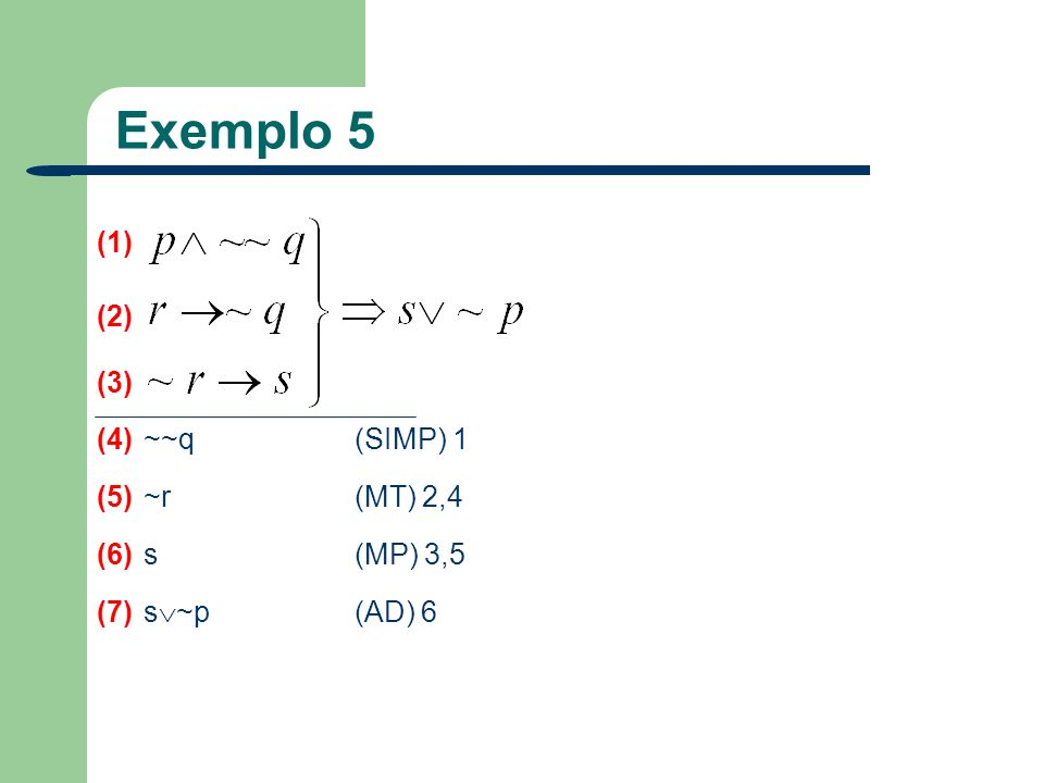 Exemplo 5 (1) (2) (3) (4) ~~q (SIMP) 1 (5) ~r (MT) 2,4 (6) s (MP) 3,5
