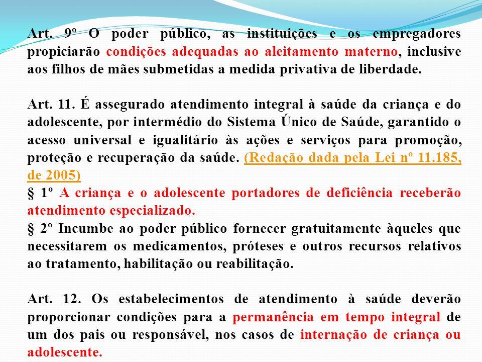 Art. 9º O poder público, as instituições e os empregadores propiciarão condições adequadas ao aleitamento materno, inclusive aos filhos de mães submetidas a medida privativa de liberdade.