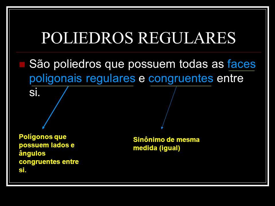 POLIEDROS REGULARES São poliedros que possuem todas as faces poligonais regulares e congruentes entre si.