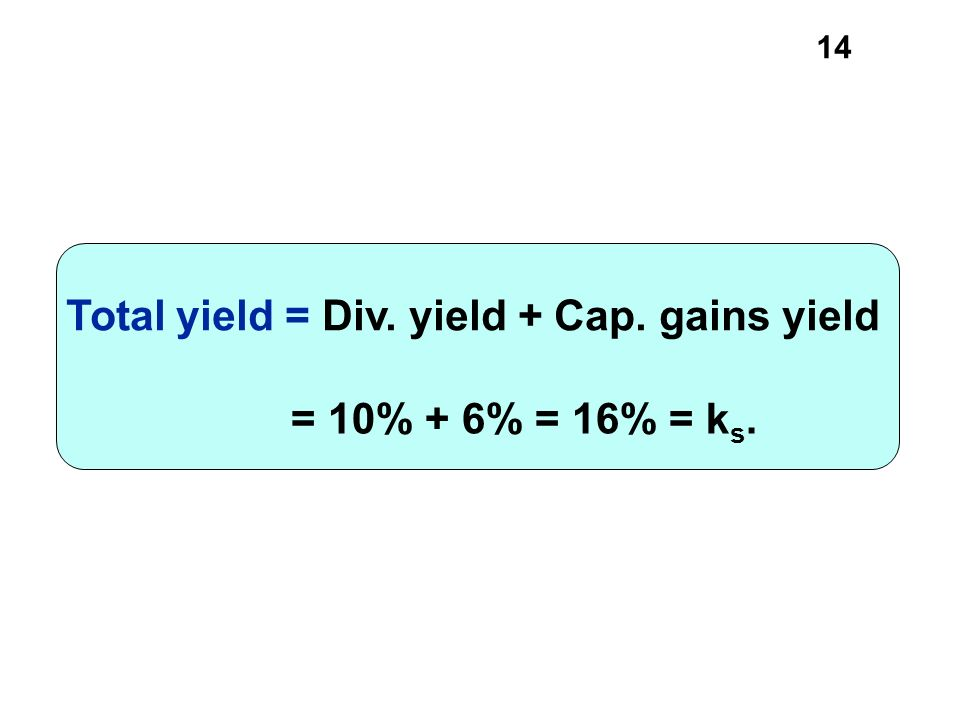 = 10% + 6% = 16% = ks. Total yield = Div. yield + Cap. gains yield