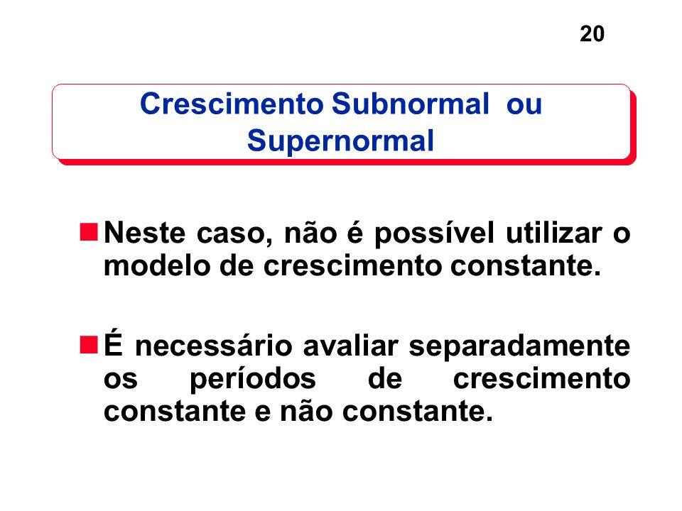 Crescimento Subnormal ou Supernormal