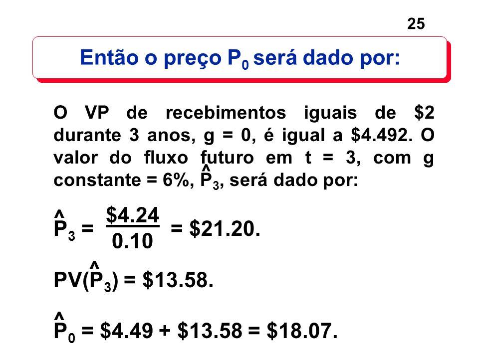 Então o preço P0 será dado por: