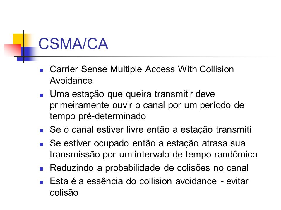 CSMA/CA Carrier Sense Multiple Access With Collision Avoidance
