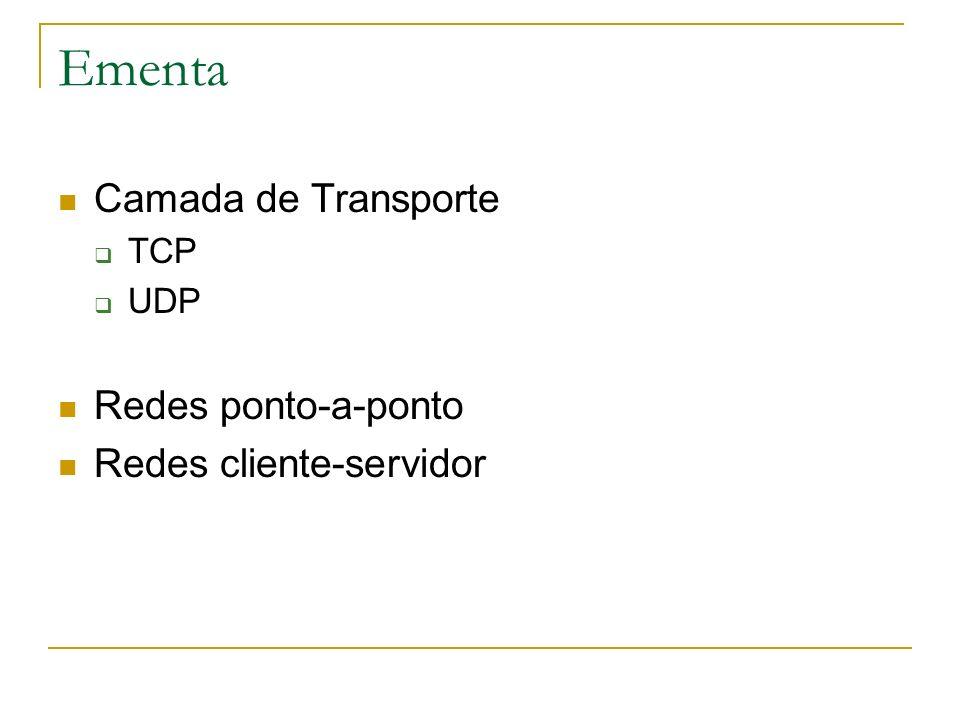 Ementa Camada de Transporte Redes ponto-a-ponto Redes cliente-servidor