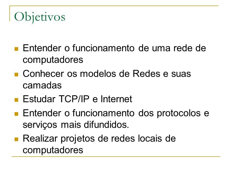Objetivos Entender o funcionamento de uma rede de computadores