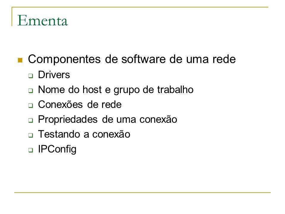 Ementa Componentes de software de uma rede Drivers