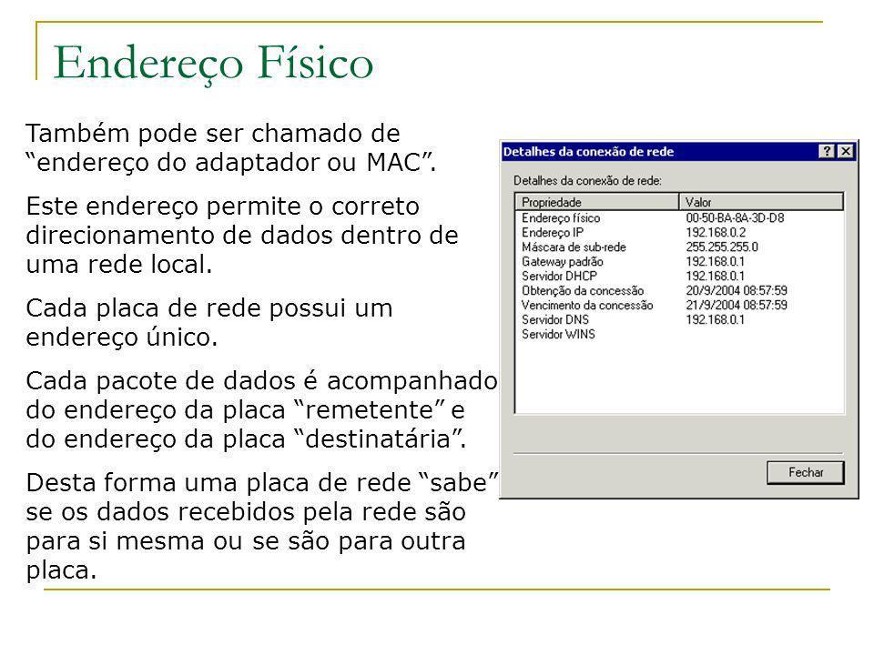Endereço FísicoTambém pode ser chamado de endereço do adaptador ou MAC .