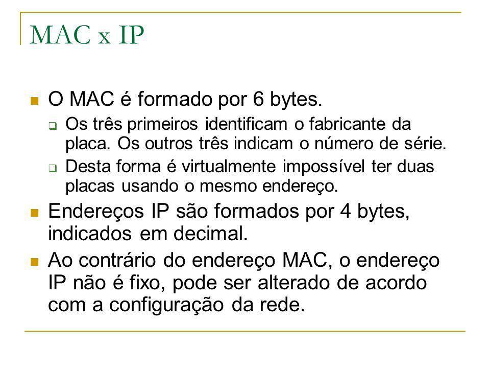 MAC x IP O MAC é formado por 6 bytes.
