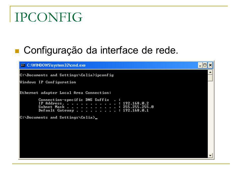 IPCONFIG Configuração da interface de rede.