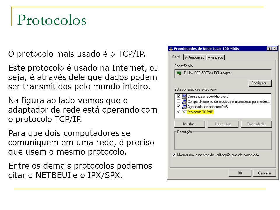 Protocolos O protocolo mais usado é o TCP/IP.