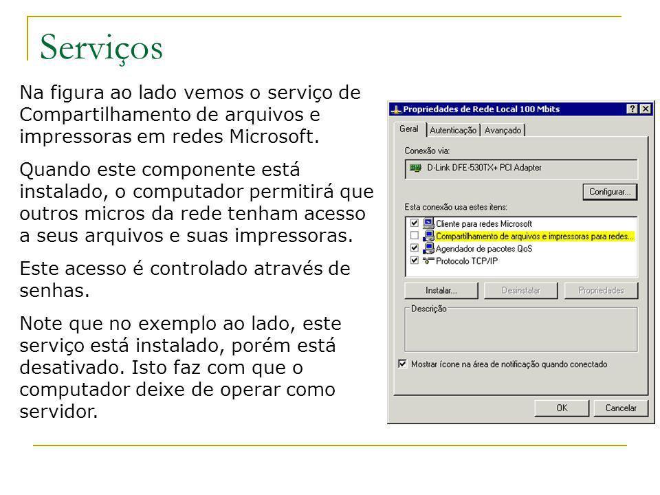 Serviços Na figura ao lado vemos o serviço de Compartilhamento de arquivos e impressoras em redes Microsoft.