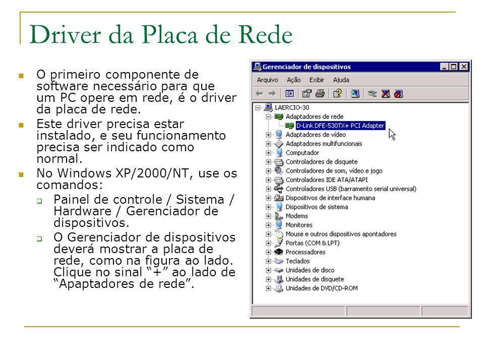 Driver da Placa de Rede O primeiro componente de software necessário para que um PC opere em rede, é o driver da placa de rede.