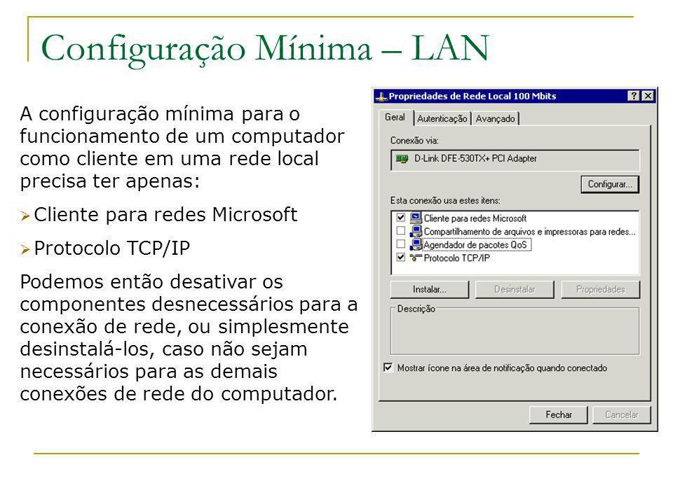 Configuração Mínima – LAN