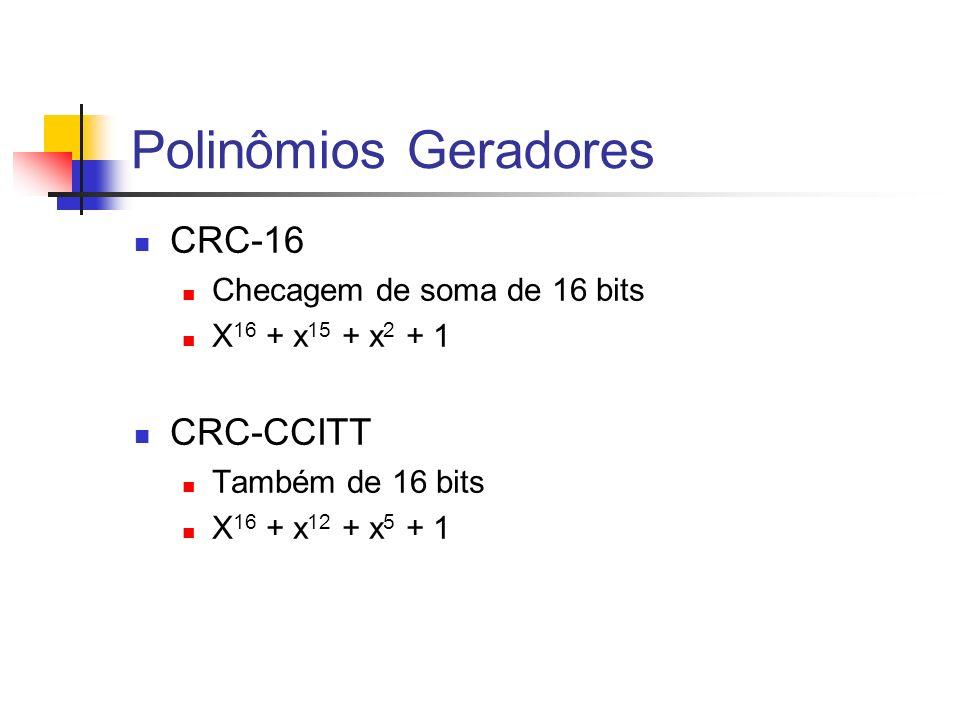 Polinômios Geradores CRC-16 CRC-CCITT Checagem de soma de 16 bits