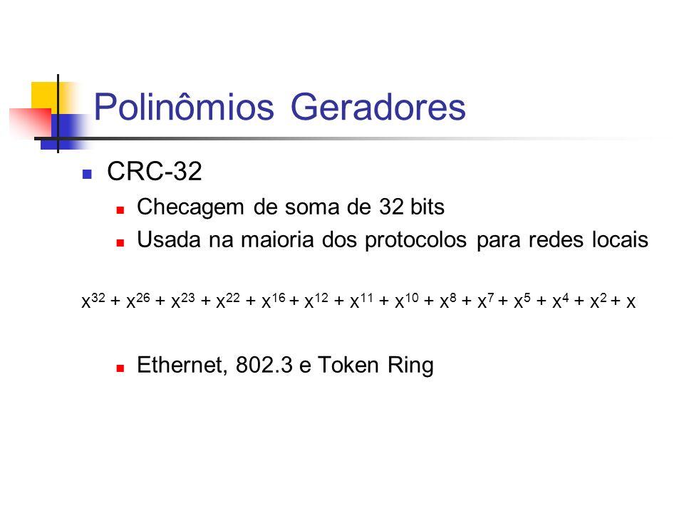 Polinômios Geradores CRC-32 Checagem de soma de 32 bits