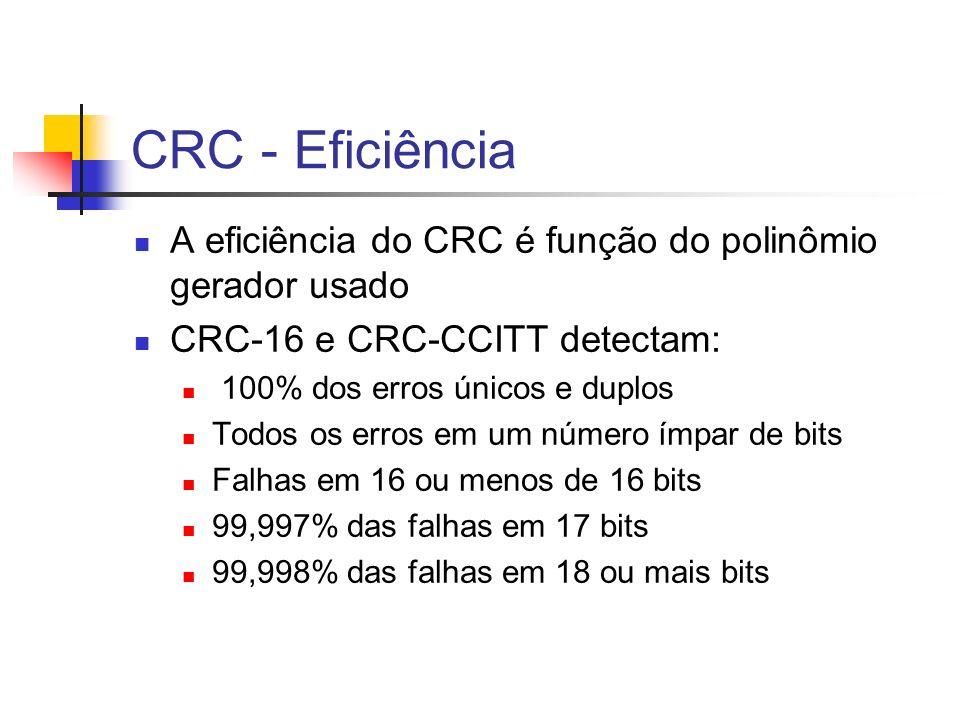 CRC - EficiênciaA eficiência do CRC é função do polinômio gerador usado. CRC-16 e CRC-CCITT detectam: