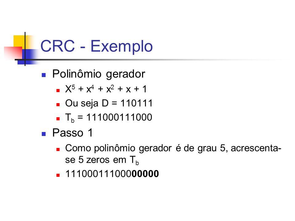 CRC - Exemplo Polinômio gerador Passo 1 X5 + x4 + x2 + x + 1