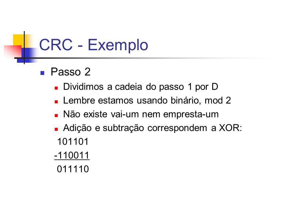 CRC - Exemplo Passo 2 Dividimos a cadeia do passo 1 por D