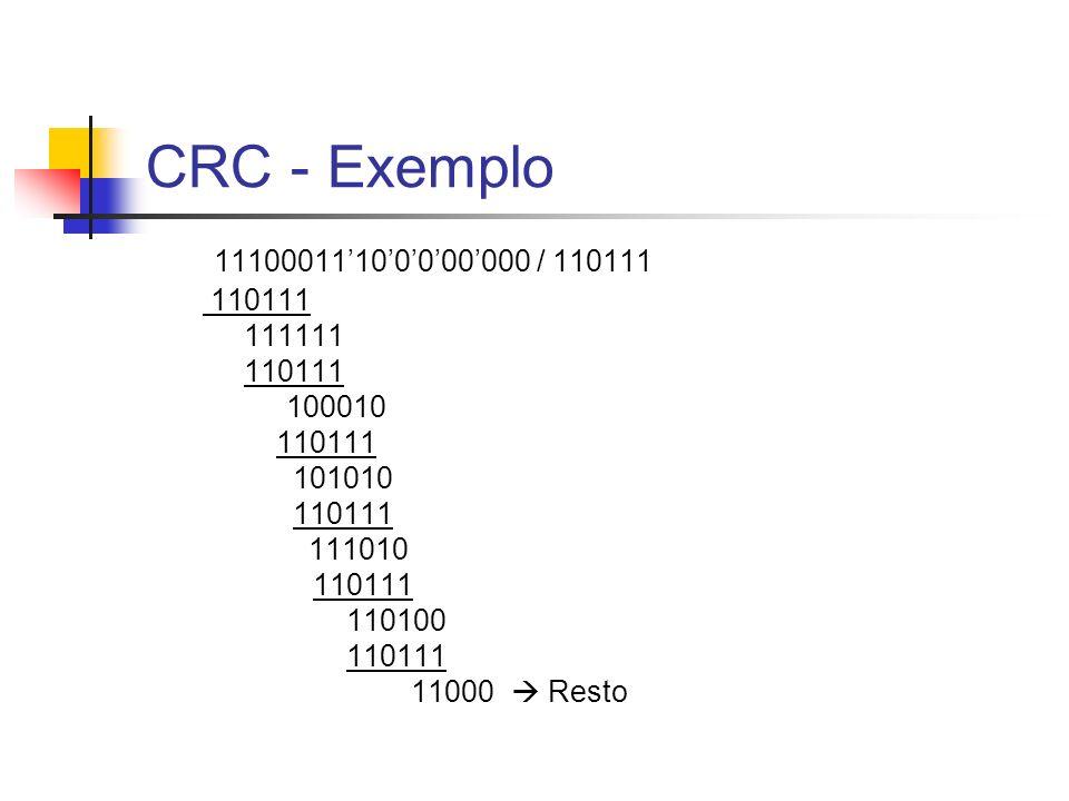 CRC - Exemplo 11100011'10'0'0'00'000 / 110111. 110111. 111111. 100010. 101010. 111010. 110100.