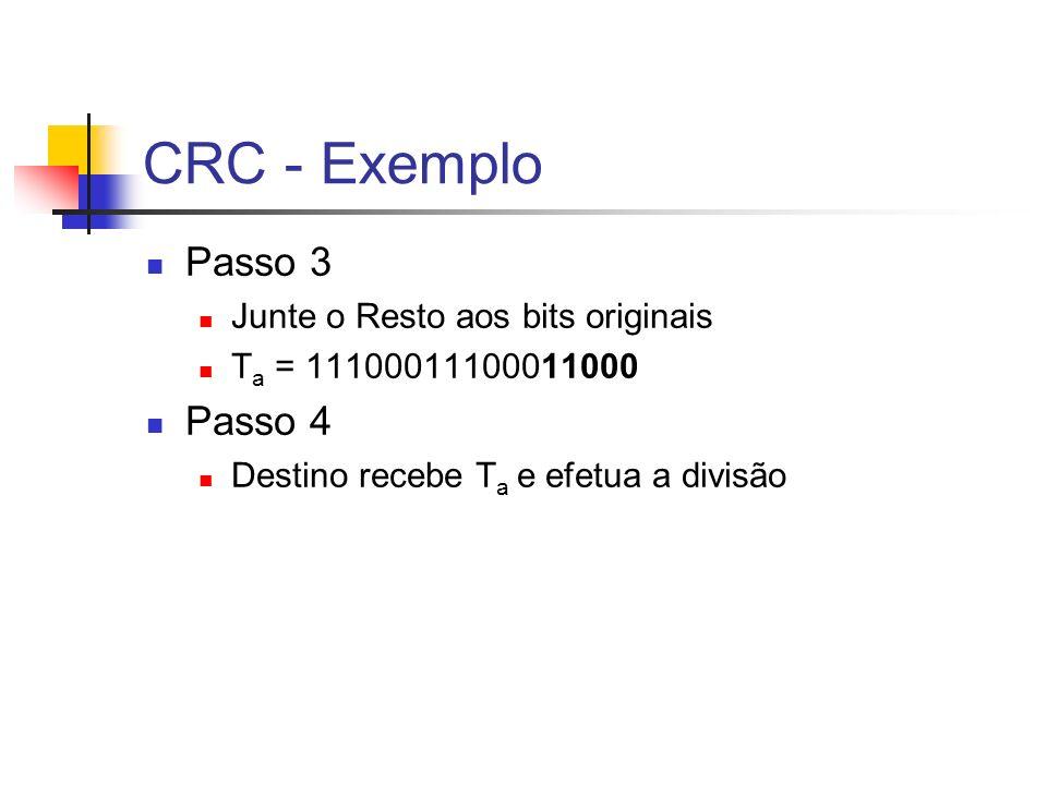 CRC - Exemplo Passo 3 Passo 4 Junte o Resto aos bits originais