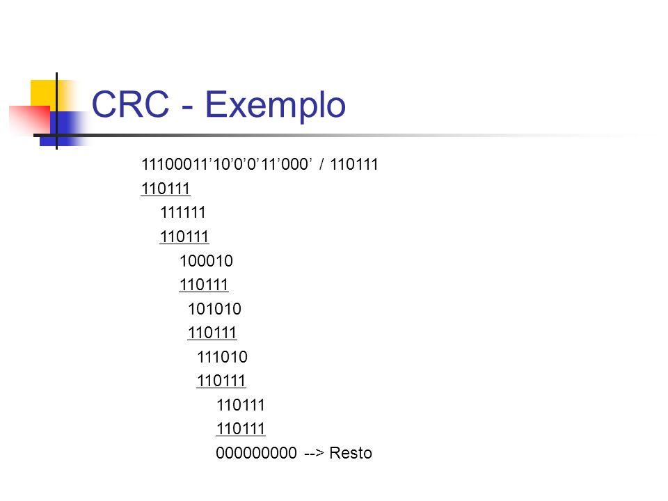 CRC - Exemplo 11100011'10'0'0'11'000' / 110111. 110111.