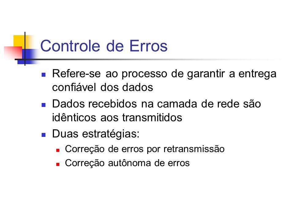 Controle de Erros Refere-se ao processo de garantir a entrega confiável dos dados. Dados recebidos na camada de rede são idênticos aos transmitidos.