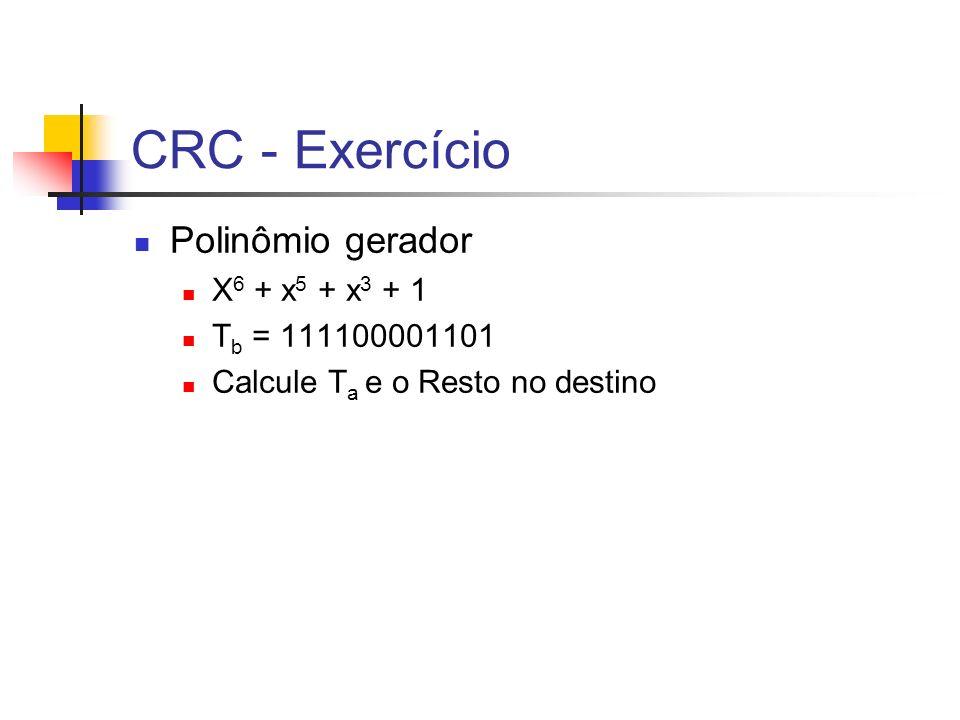 CRC - Exercício Polinômio gerador X6 + x5 + x3 + 1 Tb = 111100001101
