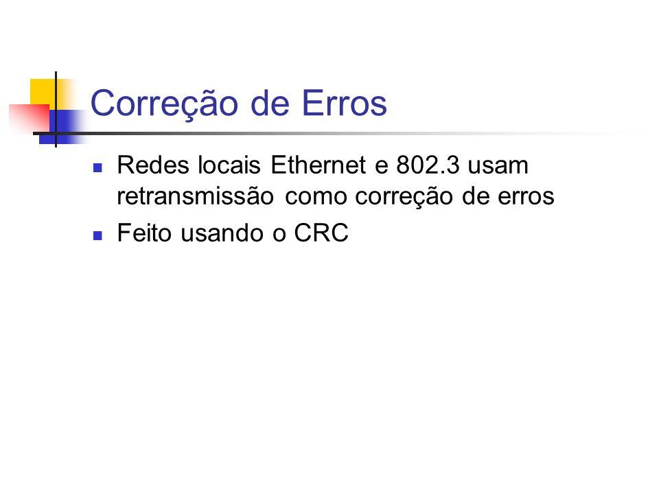 Correção de Erros Redes locais Ethernet e 802.3 usam retransmissão como correção de erros.