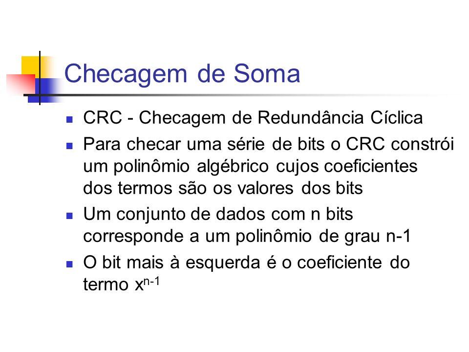 Checagem de Soma CRC - Checagem de Redundância Cíclica