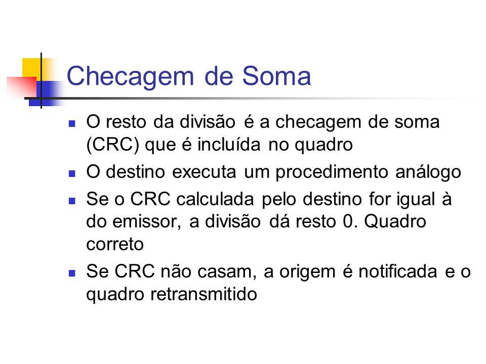 Checagem de Soma O resto da divisão é a checagem de soma (CRC) que é incluída no quadro. O destino executa um procedimento análogo.