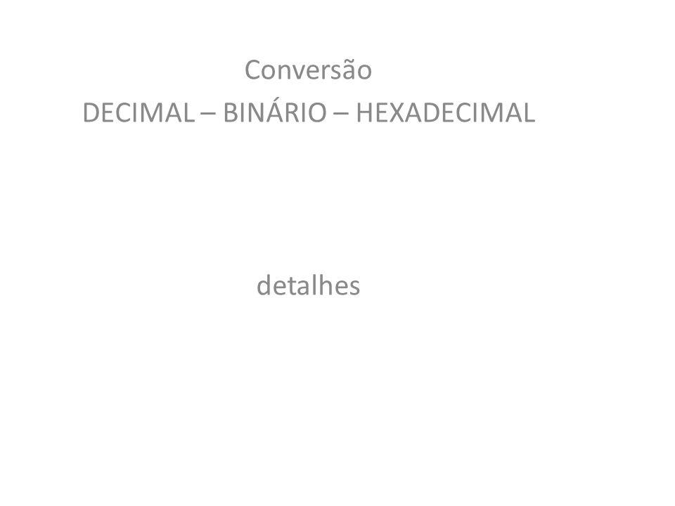Conversão DECIMAL – BINÁRIO – HEXADECIMAL detalhes