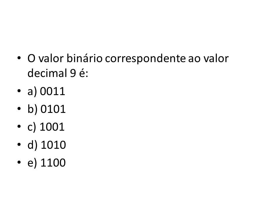 O valor binário correspondente ao valor decimal 9 é: