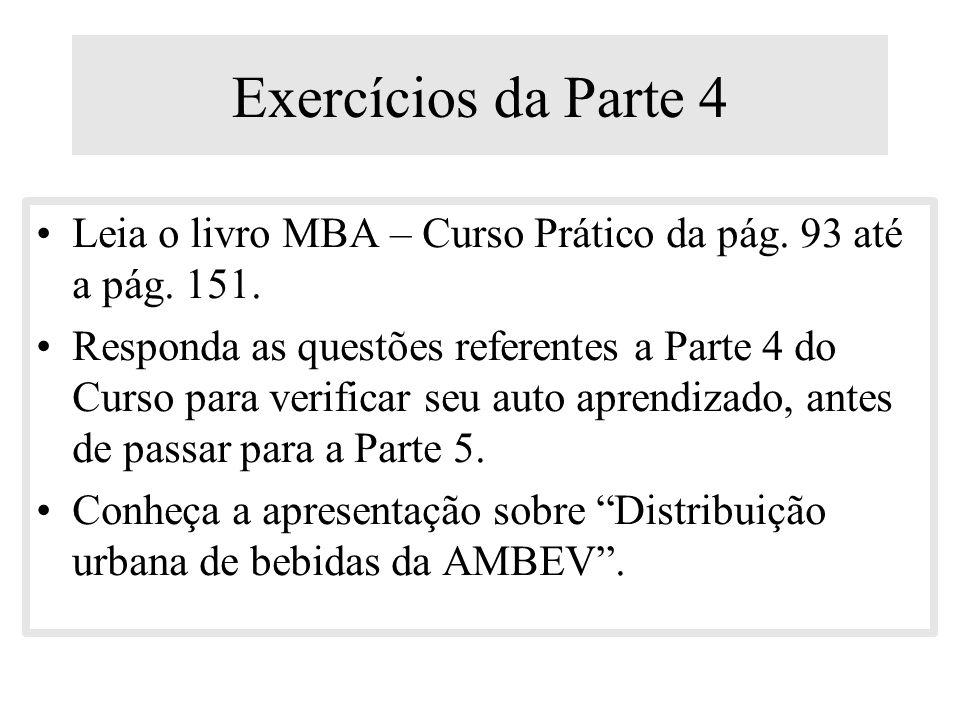 Exercícios da Parte 4 Leia o livro MBA – Curso Prático da pág. 93 até a pág. 151.