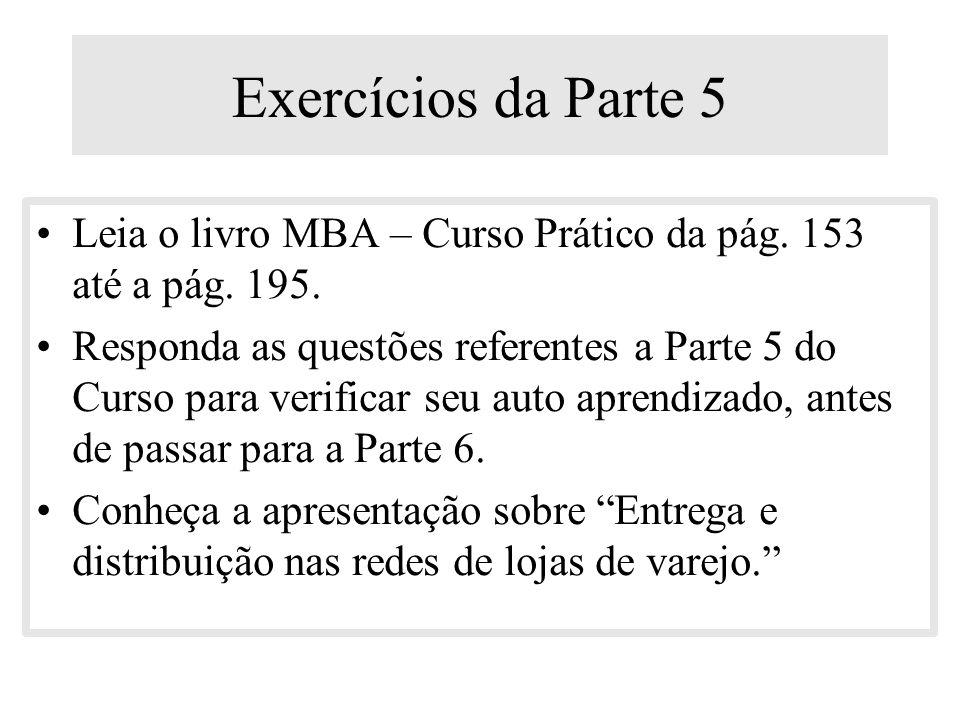 Exercícios da Parte 5 Leia o livro MBA – Curso Prático da pág. 153 até a pág. 195.