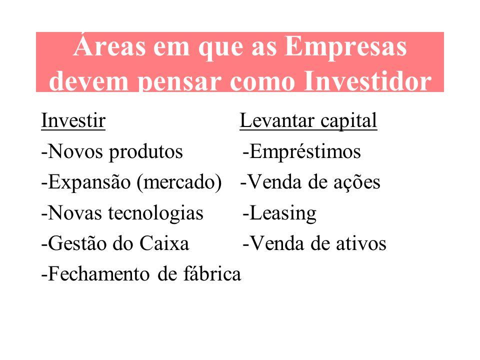 Áreas em que as Empresas devem pensar como Investidor