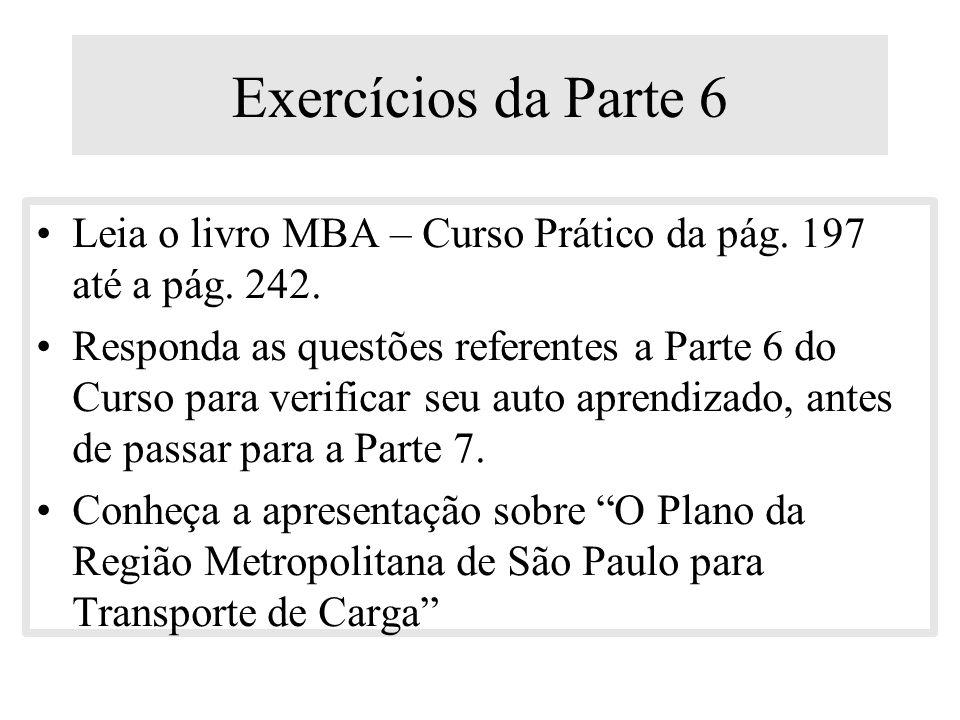 Exercícios da Parte 6 Leia o livro MBA – Curso Prático da pág. 197 até a pág. 242.