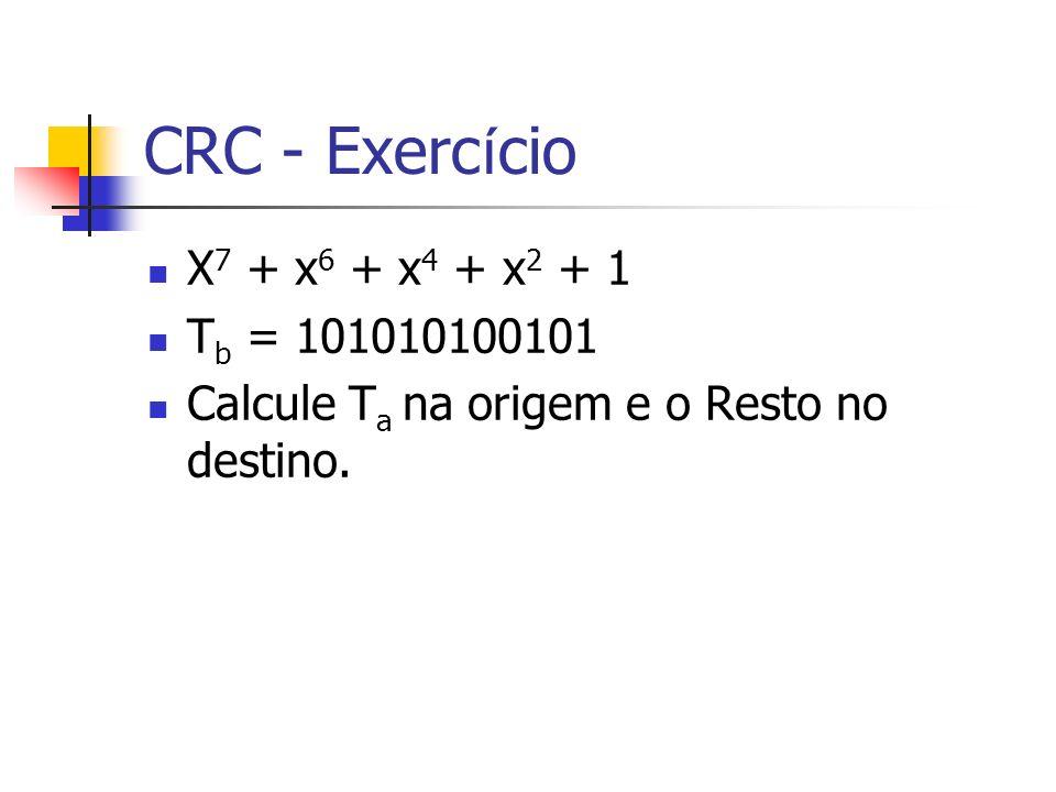 CRC - Exercício X7 + x6 + x4 + x2 + 1 Tb = 101010100101