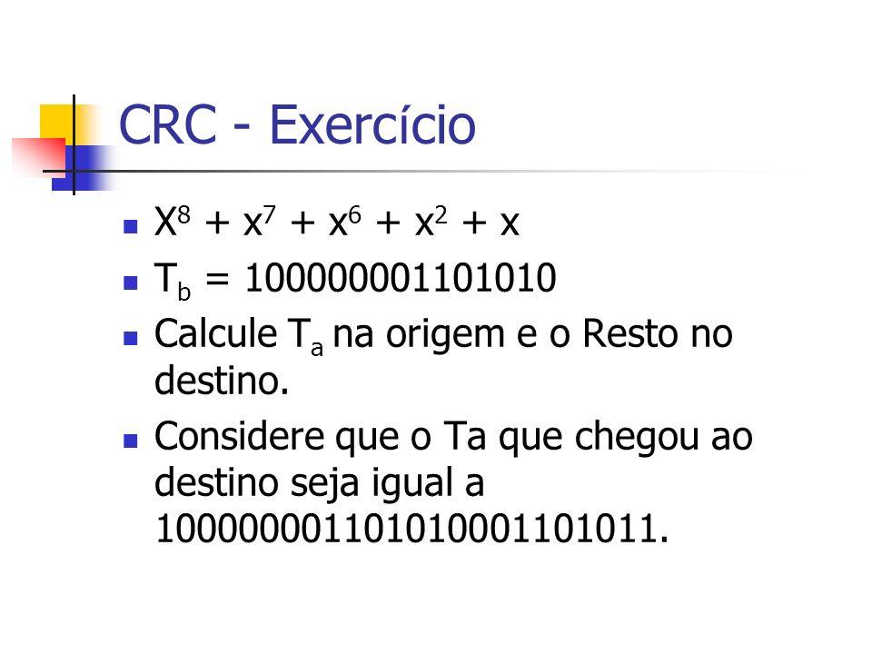 CRC - Exercício X8 + x7 + x6 + x2 + x Tb = 100000001101010