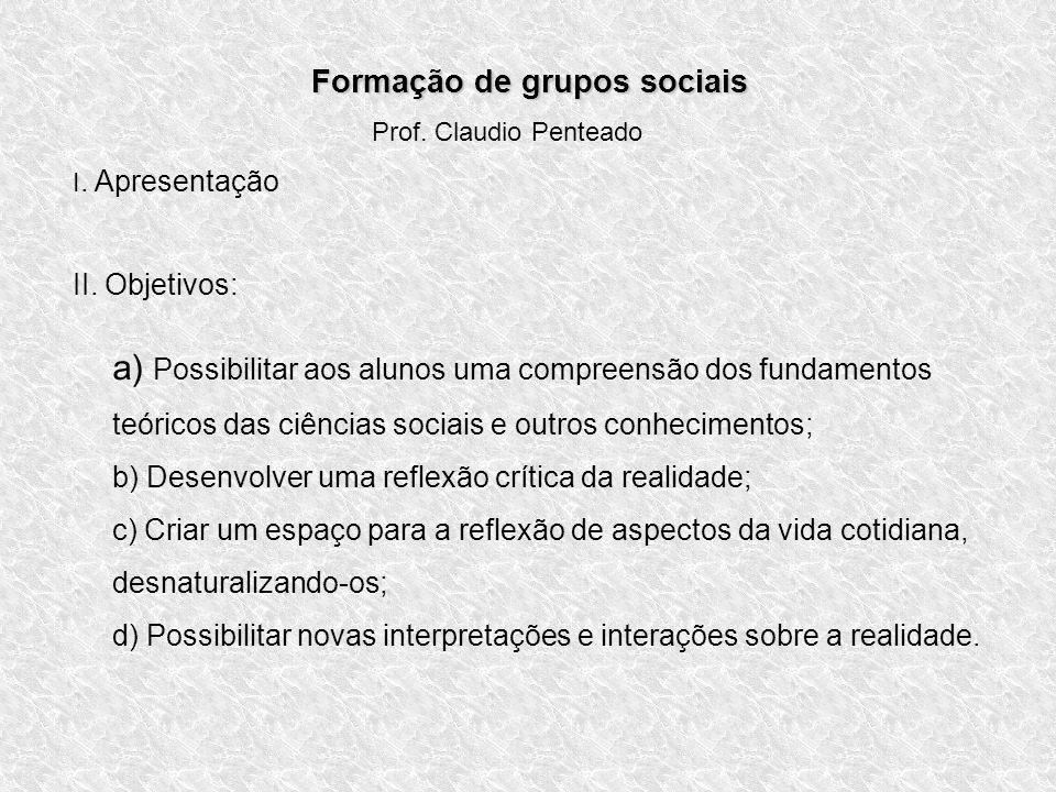 Formação de grupos sociais