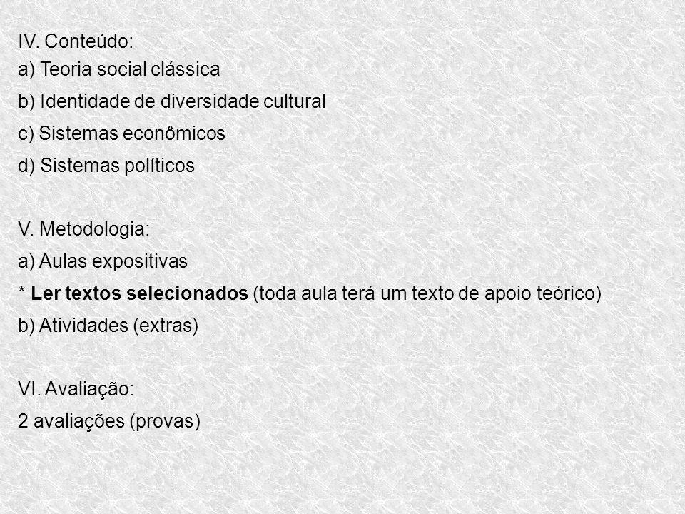 IV. Conteúdo: a) Teoria social clássica. b) Identidade de diversidade cultural. c) Sistemas econômicos.