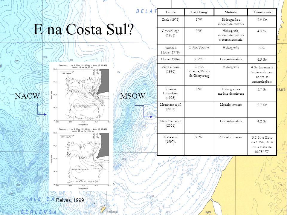 E na Costa Sul NACW MSOW Relvas, 1999 Fonte Lat/Long Método