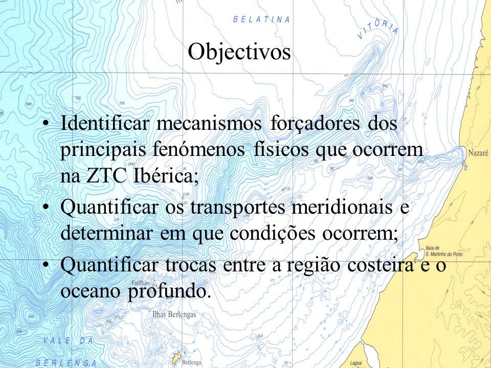 Objectivos Identificar mecanismos forçadores dos principais fenómenos físicos que ocorrem na ZTC Ibérica;