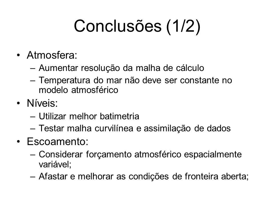 Conclusões (1/2) Atmosfera: Níveis: Escoamento: