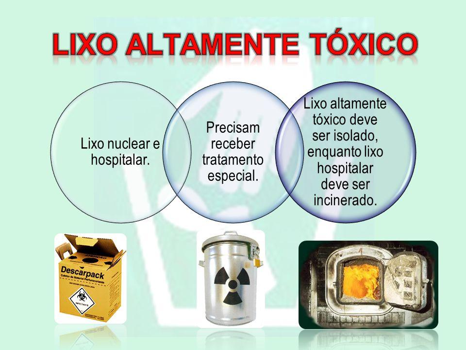 Lixo altamente tóxico Lixo nuclear e hospitalar. Precisam receber tratamento especial.