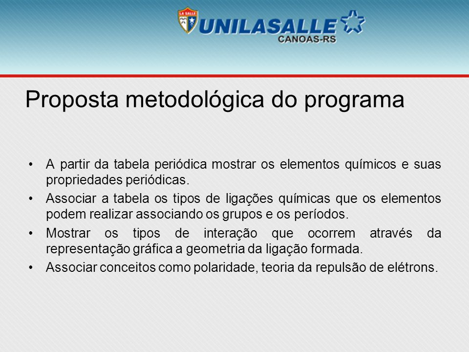 Proposta metodológica do programa