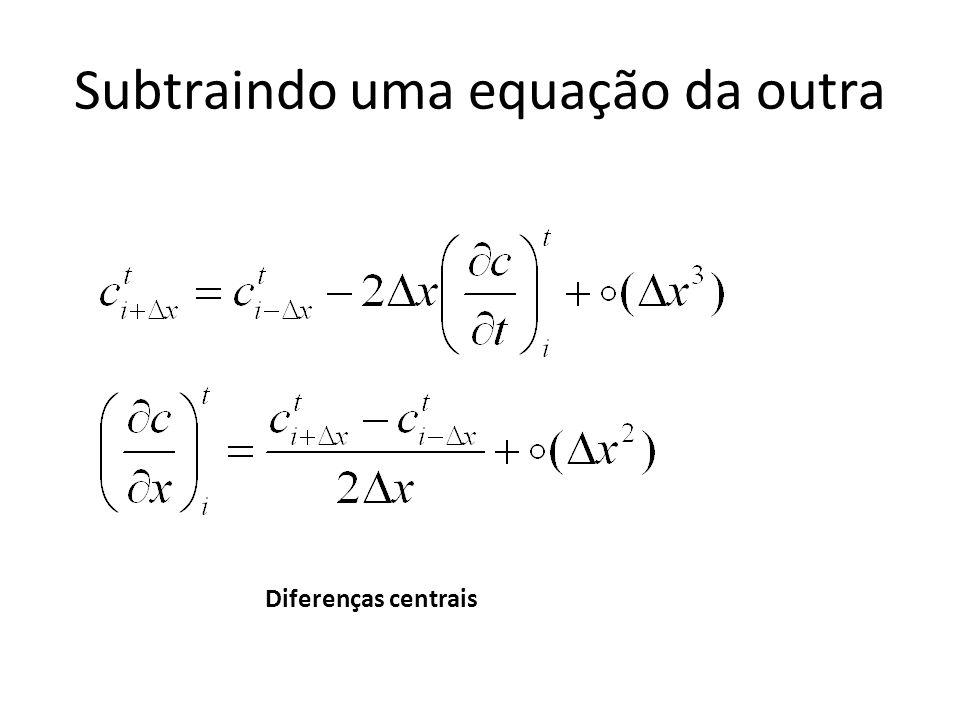 Subtraindo uma equação da outra