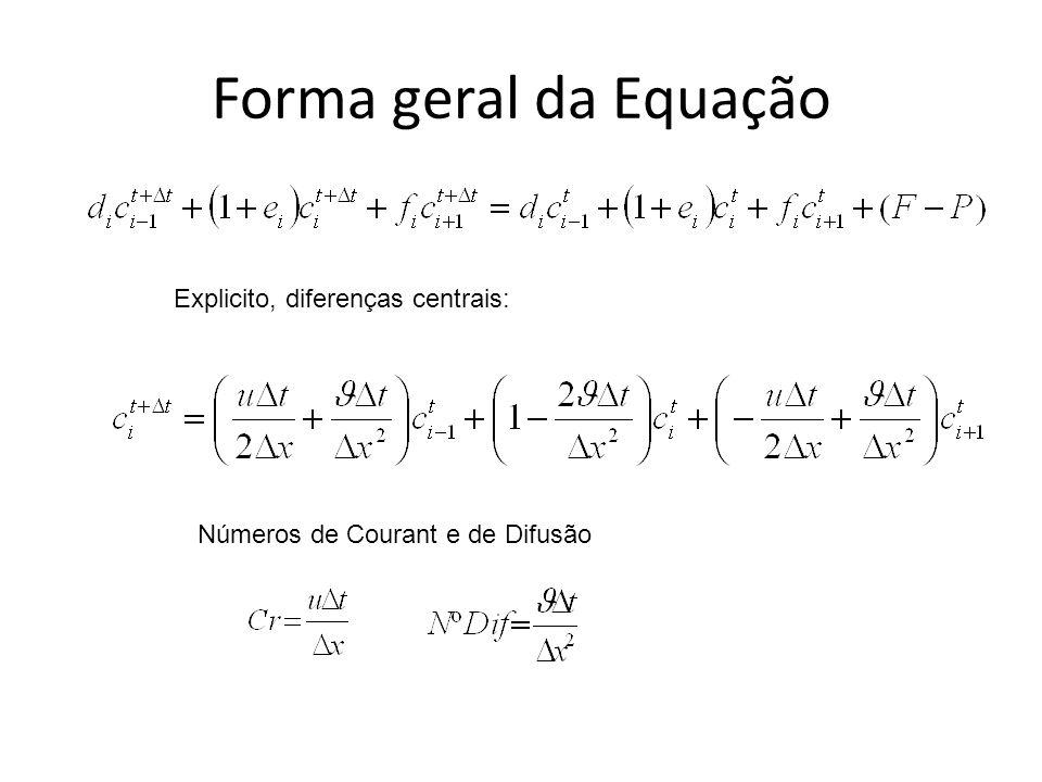 Forma geral da Equação Explicito, diferenças centrais: